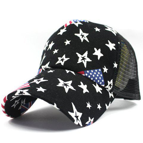 Shops Stylish American Flag and Five-Pointed Star Pattern Breathable Mesh Baseball Cap For Men - BLACK  Mobile