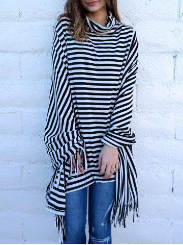 New Stylish Cowl Neck 3/4 Sleeve Striped Fringed Women's Poncho Blouse