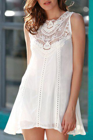 Discount Stylish Jewel Neck Sleeveless Spliced Openwork White Women's Chiffon Dress WHITE M
