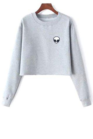 Shops Alien Embroidery Cropped Sweatshirt LIGHT GRAY ONE SIZE(FIT SIZE XS TO M)