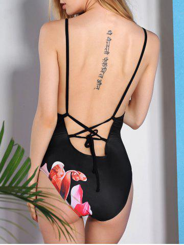 Unique Vintage Flower Printed Back Criss-Cross One-Piece Swimwear For Women - 2XL BLACK Mobile