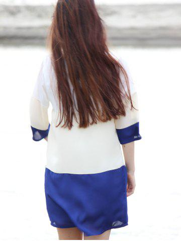 Chic Casual Scoop Neck Color Block 3/4 Sleeve Dress For Women - M PURPLISH BLUE Mobile