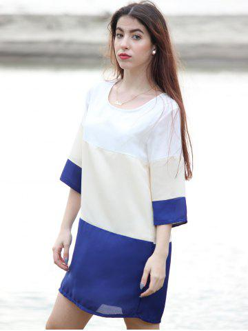 Shops Casual Scoop Neck Color Block 3/4 Sleeve Dress For Women - M PURPLISH BLUE Mobile