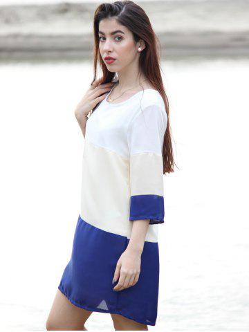Outfit Casual Scoop Neck Color Block 3/4 Sleeve Dress For Women - M PURPLISH BLUE Mobile