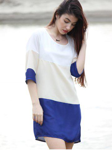 Best Casual Scoop Neck Color Block 3/4 Sleeve Dress For Women - M PURPLISH BLUE Mobile
