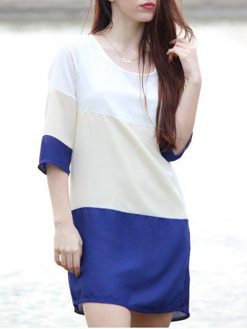Casual Scoop Neck Color Block 3/4 Sleeve Dress For Women - Purplish Blue - Xl