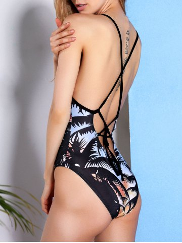 New Palm Tree Back Criss-Cross Swimsuit - XL COLORMIX Mobile
