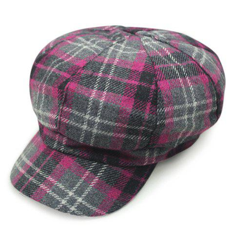 Chic Tartan Pattern Casual Style Newsboy Hat For Women - Rose