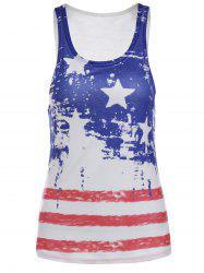 Fashionable Scoop Neck Sleeveless Star Print Striped Women's Tank Top