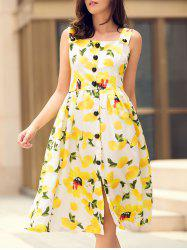 Square Neck Lemon Print Hawaiian Midi Dress -