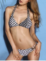 Charming Halter Neck Polka Dot Chain Embellished   Bikini Set For Women