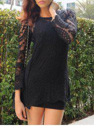 Lace Sheer Long Sleeve Short Dress