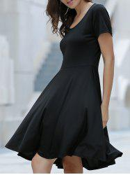 Stylish Scoop Neck Short Sleeve Asymmetrical Dress For Women