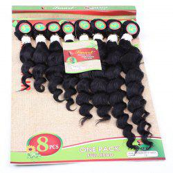 8Pcs/Lot Fashion 90 Percent Human Hair Black 8-14 Inch Hair Extension For Women - BLACK