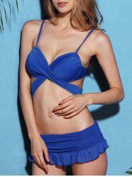 Strappy Blue Skirted Wrap Bikini Swimsuit