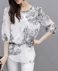 Graceful Ink Painting Printed 3/4 Sleeve Chiffon Blouse For Women