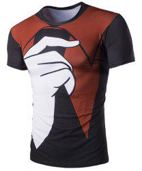 Pullover Color Block Finger Printed T-Shirt For Men - COLORMIX