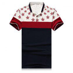 3D Stars Printed Splicing Design Turn-Down Collar Short Sleeve Polo T-Shirt For Men -