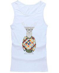 Hot Sale Round Neck 3D Cartoon Alpaca Print Tank Top For Men