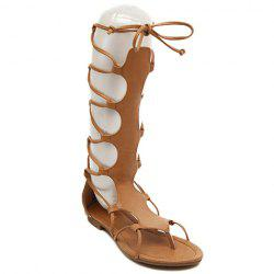 Flip Flop Design Gladiator Sandals That Lace Up Calf - BROWN