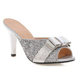 Stylish Bow and Sequined Cloth Design Slippers For Women - SILVER