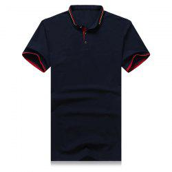 Striped and Star Embroidered Turn-Down Collar Short Sleeve Polo T-Shirt For Men -