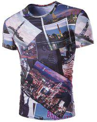 Slimming Round Neck 3D Civic Landscape Short Sleeves T-Shirt For Men