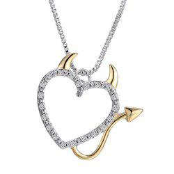 Rhinestoned Heart Demon Shape Pendant Necklace