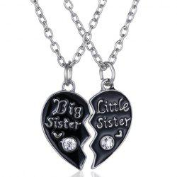 A Suit of Rhinestone Heart Sister Necklaces