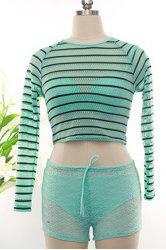 Brief Lace Bikini Set+Round Collar Striped Cover Up+Lace Shorts For Women -