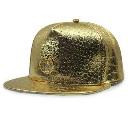 Stylish Lion Shape Door Holder Embellished Golden PU Baseball Cap For Men -