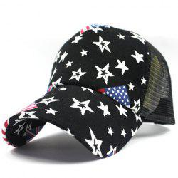 Stylish American Flag and Five-Pointed Star Pattern Breathable Mesh Baseball Cap For Men -