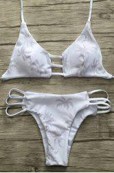 Stylish Halter Coconut Palm Print Women's Bikini Set - WHITE L