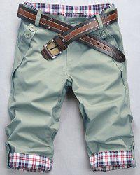 Fashion Straight Leg Plaid Spliced Color Block Zipper Fly Shorts For Men - APPLE GREEN