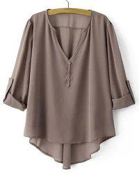 Low Cut Adjustabel Sleeve Asymmetrical Chiffon Blouse - DARK KHAKI