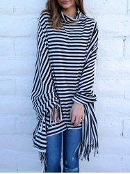 Stylish Cowl Neck 3/4 Sleeve Striped Fringed Women's Poncho Blouse -
