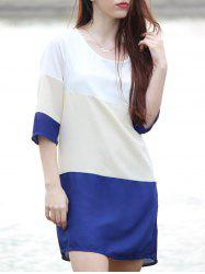 Casual Scoop Neck Color Block 3/4 Sleeve Dress For Women - PURPLISH BLUE