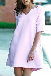 Women's Stylish V-Neck 1/2 Sleeve Pink Cut Out Lace-Up Dress