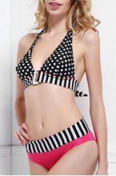Sexy Style Halter Neck Stripe Polka Dot Color Block Bikini Set For Women