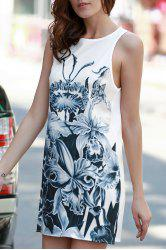Round Neck Sleeveless Floral Print A-Line Dress