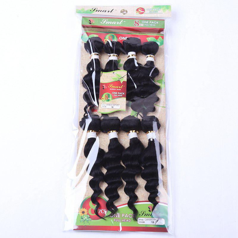 Outfit 8Pcs/Lot Stylish Black 90 Percent Human Hair Blended Synthetic Fluffy Wave Women's Hair Extension