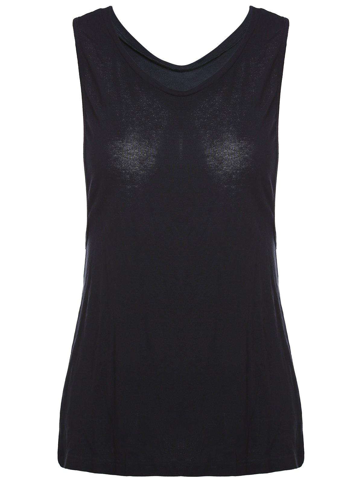Buy Chic V-Neck Cut Out Solid Color Women's Tank Top