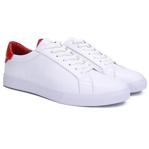 Sale Concise Color Matching and PU Leather Design Casual Shoes For Men