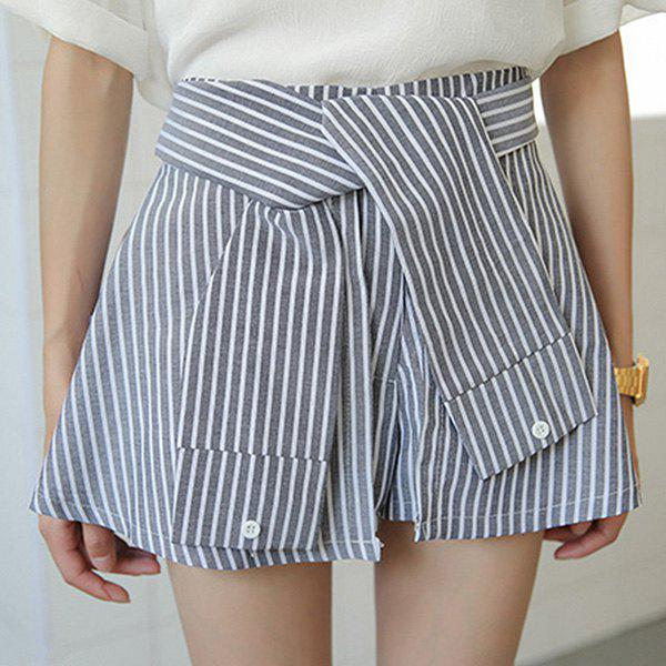 Affordable Fashionable High-Waisted Striped Slimming Women's Culotte