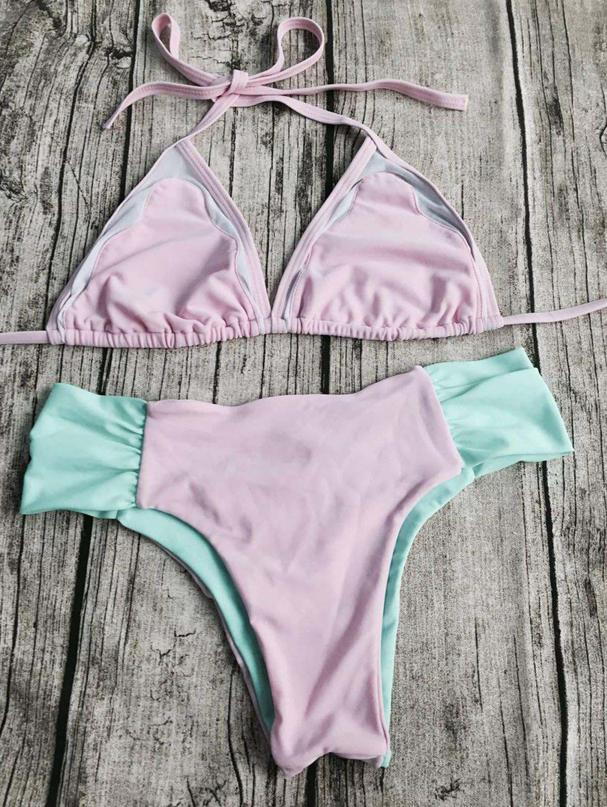 Outfits Sweet Style Halter Neck Color Block Backless   Bikini Set For Women