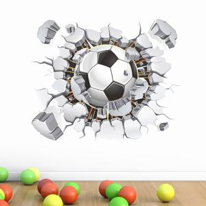 3D Football Broken Wall Removeable Wall Stickers Sports