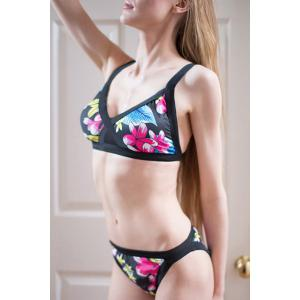 Sexy Push Up Flower Print Bikini Set For Women -