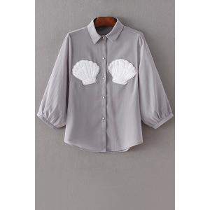 Sweet Shell Pattern Faux Pearl Button Women's Chiffon Shirt - Gray - M