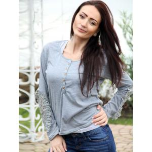 Casual Scoop Neck Lace Splicing Long Sleeve T-Shirt For Women - LIGHT GRAY L