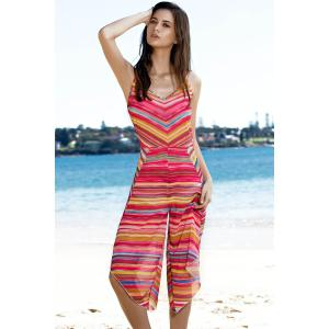 Sweet Spaghetti Strap Striped Colorful Women's Playsuit -